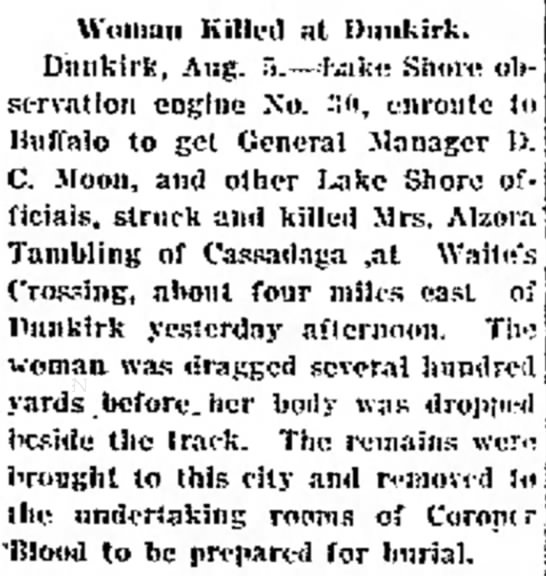 - Woman Killed at Dunkirk. Dunkirk, Aug....