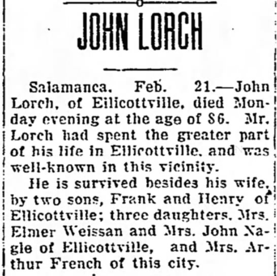John Lorch (?) obit - Salamanca. Feb. 21.--John! Lorch, of...