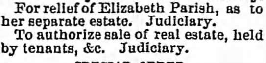- For relief of Elizabeth Parish, as to her...