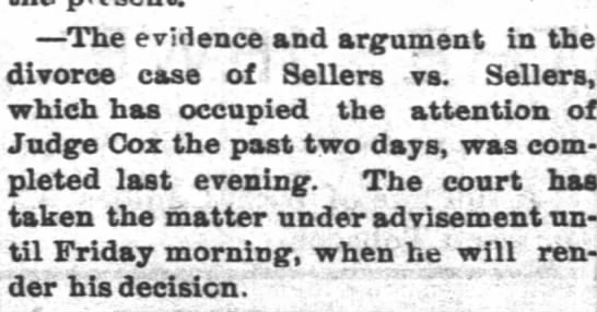 Sellers divorce 1894 - -The -The evidence and argument in the divorce...