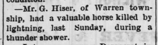 1880 July 15 - G. Hiser horse killed by lightning - . Mr. G. Hiser, of Warren township, township,...