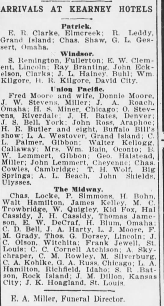 S.R. Batson, arrival at Kearny Hotel, Kearney Daily Hub, 8/27/1909 - ARRIVALS AT KEARNEY HOTELS H. Patrick. K. Tt....