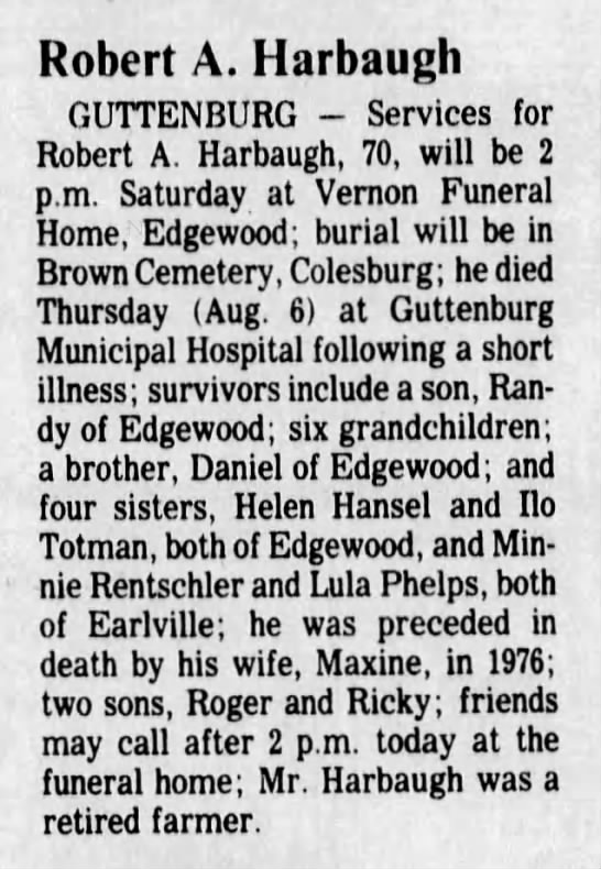 Harbaugh_Robert_Aaron-1987_08_06-Obituary-The_Courier-Waterloo_Iowa - Robert A. Harbaugh GUTTENBURG - Services for...