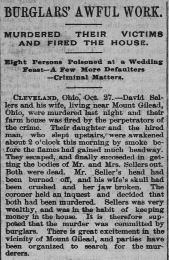 David Sellers 1888 - BURGLARS' AWFUL WORK. MURDERED THEIR VICTIMS...