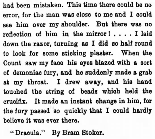 """Excerpt from """"Dracula"""" - had been mistaken. This time there oould be no..."""