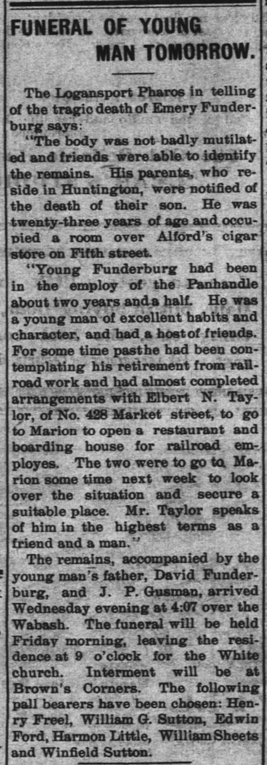 emery funderburg 13 mar 1902 - FUNERAL OF YOUna: MAN TOMORROW. The Logansport...