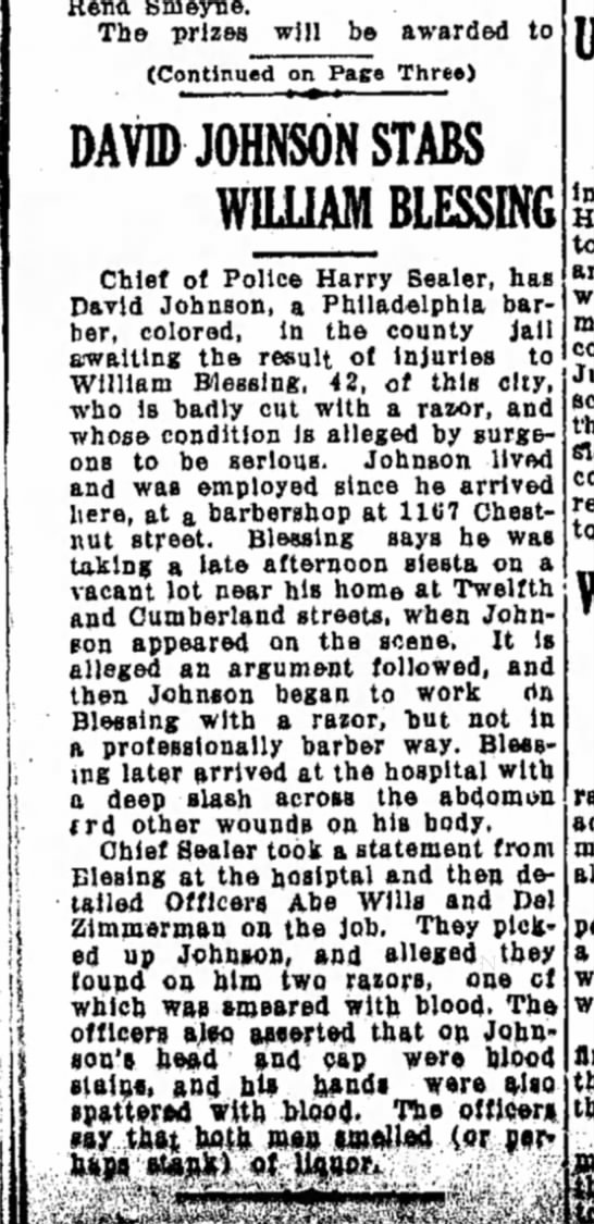 William Blessing is stabbed-Lebanon Daily News-p.1-20 June 1931 - Reno, Smeyne. The prizes will be awarded to...
