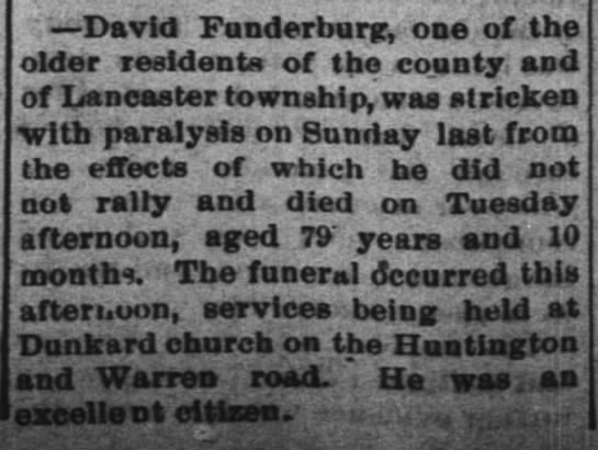 David Funderburg dies 16 feb 1888, died 14th - David Funderburg, one of the older residents of...