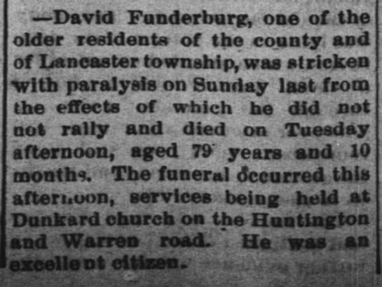 David Funderburg dies 16 feb 1888, died 14th - David Funderburg, one of the older residents of...