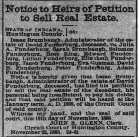 Isaac Funderburg petition 29 nov 1888 - Notice to Heirs of Petition to Sell Heal...