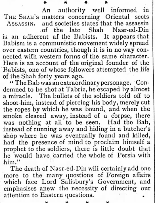Babists and Bab reminded in context of Shah's assasination