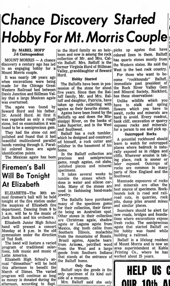 Freeport Journal-Standard, Freeport, IL feb 26, 1965 Calvin and Virginia Balluff - Chance Discovery Started Hobby For Mt. Morris...