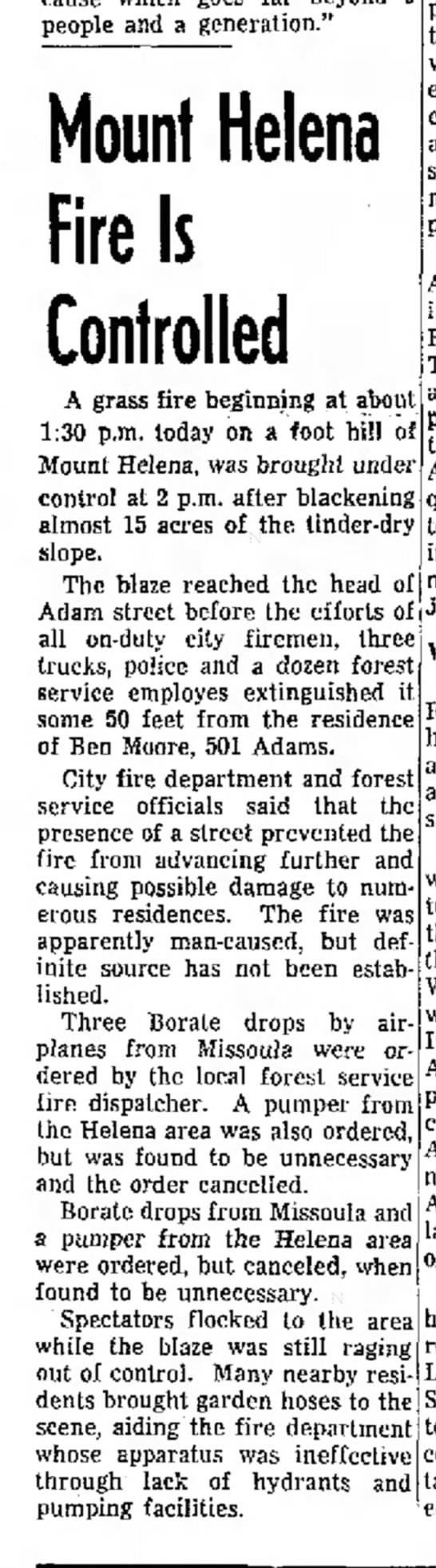 "Mount Helena fire 8/17/59 - people and a generation."" Mount Helena Fire Is..."