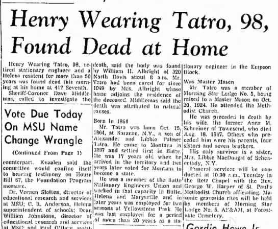 - Henry Wearing Tatro, 98, Found Dead at Home...
