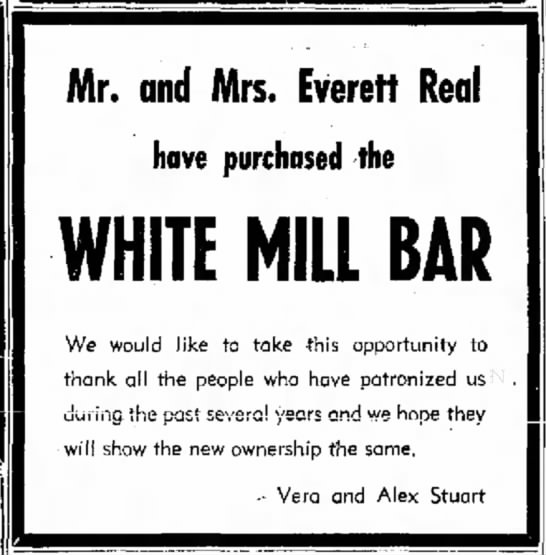 Mr. & Mrs. Everett Real Purchased a Bar - Mr. and Mrs. Everett Real have purchased the...