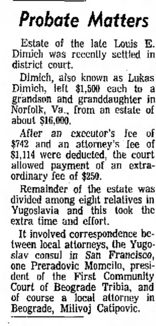 wow - Probate Matters Estate of the late Louis E....