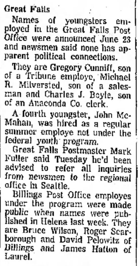 Milversted, Michael R_28 Jul 1965 - Great Falls Names of youngsters employed in the...