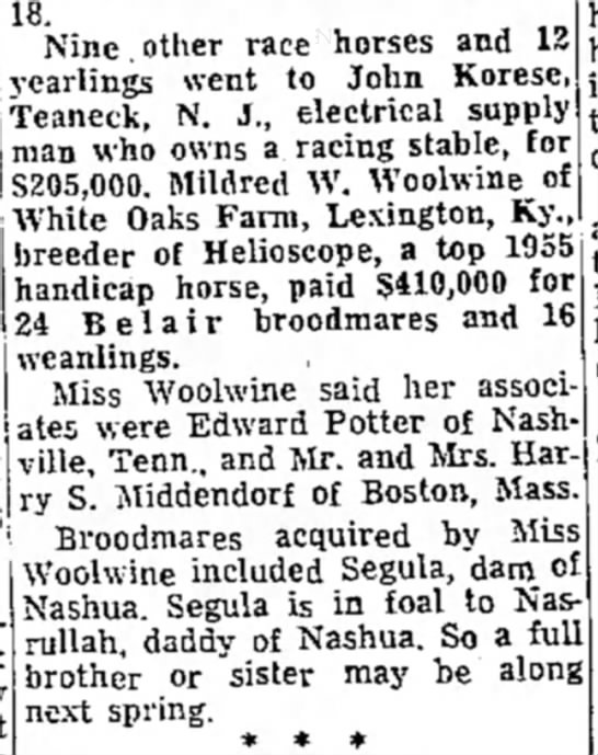 Mildred W Woolwine - 18. . Nine other race horses and 12 yearlings...