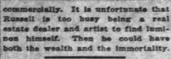 The Indianapolis News (Indianapolis, Indiana) 7 August 1923  Page 6 - commercially. It la unfortunate that Russell la...