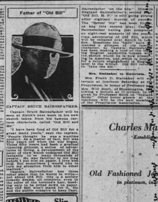 "Indianopolis News 20.03.24 - A the Ice of to of Father of ""Old Bill"" i ?..."