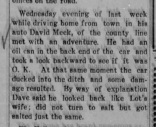 David Meek, the son, car accident April 29, 1915 - on Wednesday evenirg of last week While driving...