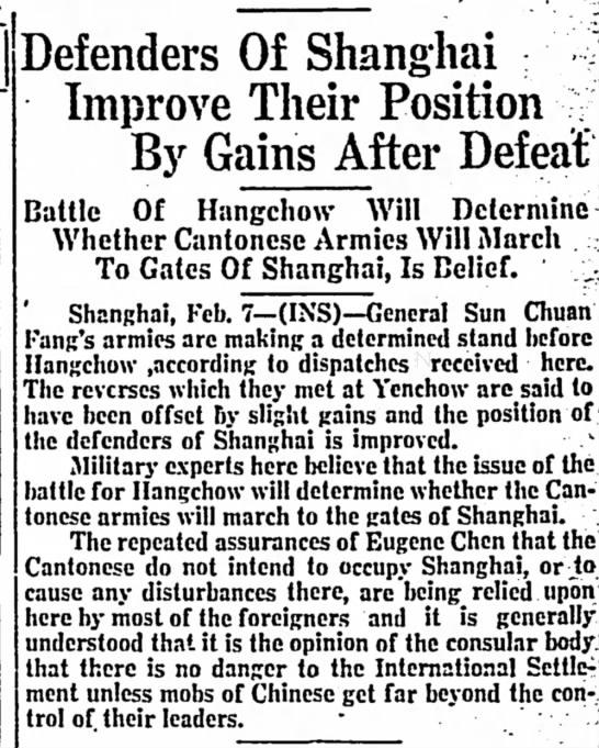 """Defenders of Shanghai 2-7-27 - Defenders Of Shanghai ·""""···/ Improve Their..."""