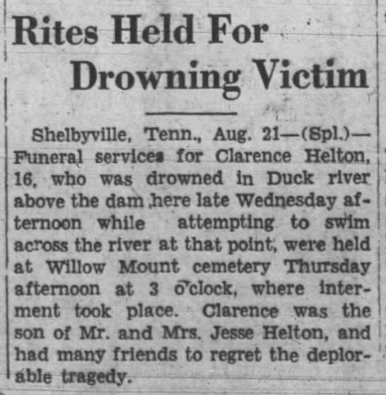 Clarence Helton death article 1 - Rites Held For Drowning Victim Shelbyville,...