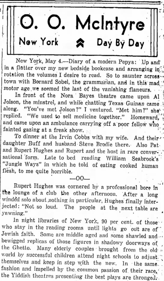 Chanel-4a (Times-Herald,Olean NY, p. 2) - 0. O. Mclntyre New York £ Day By Day New York,...