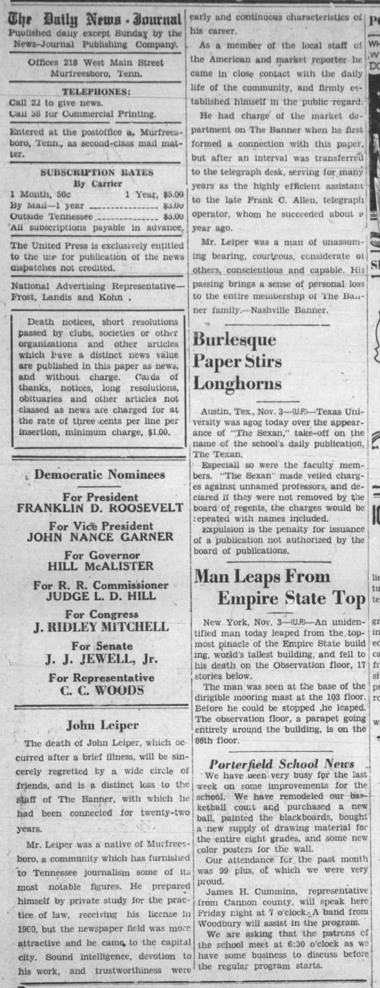 Obit 1932-John Leiper, JR Nashville Banner - Gil DaUij vaa SJournal Published daily except...