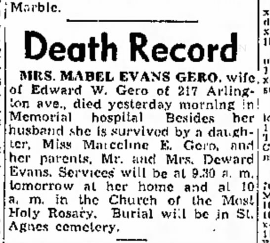 Mabel Evans Gero obit - a j M.-.rblc. was b of n Institute was k i n s...