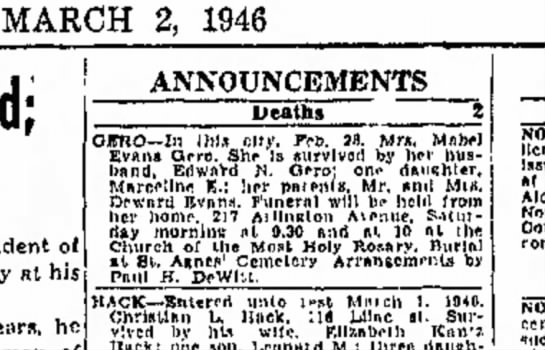 Mabel Evans Gero obit, wife of Edward N Gero - MARCH 2, 1946 ANNOUNCEMENTS Deaths QITRO--In...