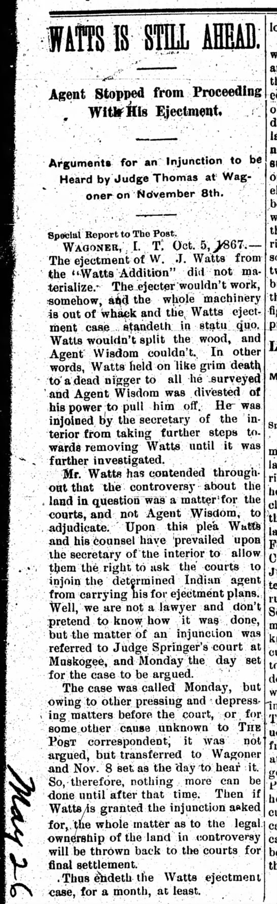 Watts intruder case article - lift IS STE AHEAD. Agent Stopped from...