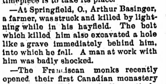 - —At Springfield, O., Arthur Basinger, a farmer,...