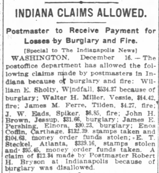 Indianapolis News 16 Dec 1912 - INDIANA CLAIMS ALLOWED. Postmaster to Receive...