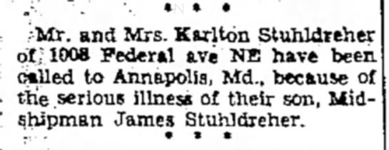 Karlton Stuhldreher called to see son James because of Illness - 0 -: . •'. * * * ;Mr. and Mrs. Karlton...