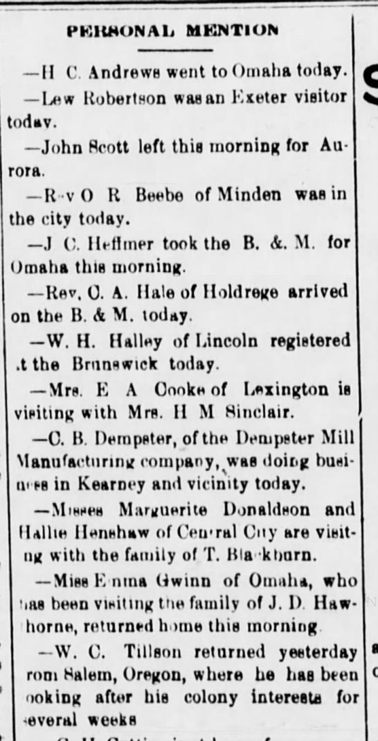 Dempster Personal Mention Kearney NE 1895 - PKllMONAli MKNTION -II -II C. Andrews went to...