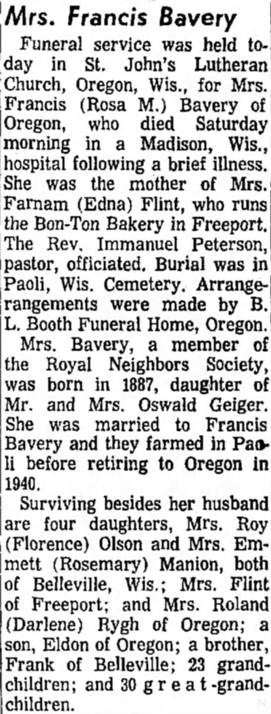 - Mrs. Francis Bavery Funeral service was held...
