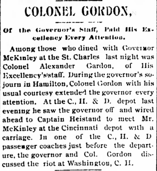 Colonel Gordo of Govenors Staff Paid His Excellency Every Attention - the at the of and COLOKBL GOKDON, Of III*'...