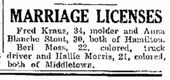 Fred Kraus engaged to Aura Blanche Stout (1929) - MARRIAGE LICENSES Fred Kraus, 34, molder and...