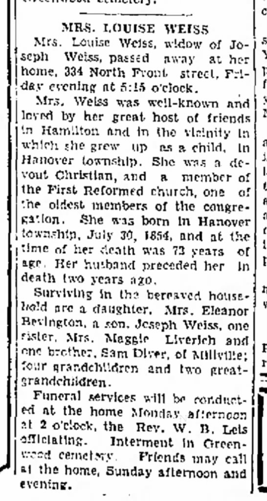 Louise (Diver) Weiss Obituary (1931) - MRS. LOUISE WEISS Mrs. Louise Weiss, widow of...