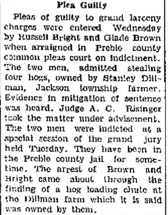 Glade Brown, 1931, guilty plea - Plea Guilt; Pleas of guilty to grand larceny...