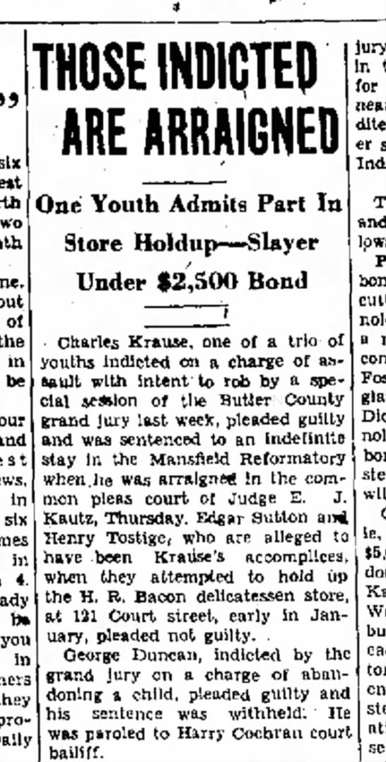 Charles Krause arrested for robbing Bacon Deli (1930) - out in be o n t e s t News. In Names In 4....