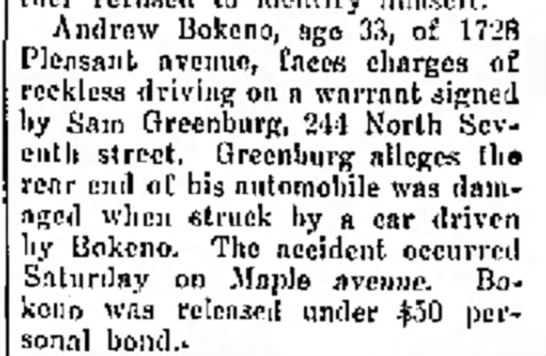 Bokeno_Andrew_Reckless Driving 12 Feb 1934The Journal News