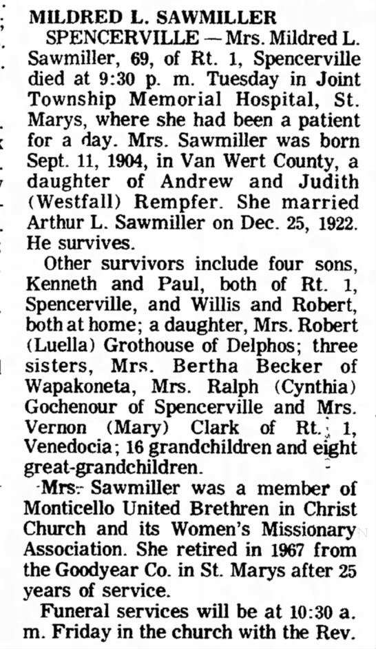 Mildred Rempfer Sawmiller Part 1 - Rt. 1; Mrs. Mrs. A. Ray Rockford; Rt. St.;...