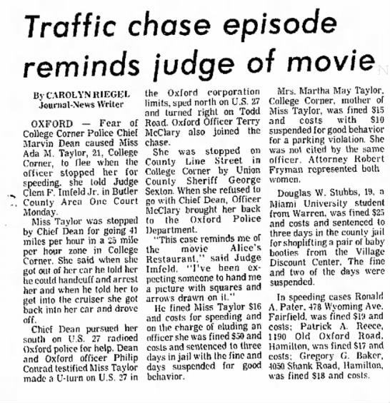 Ada Taylor - Traffic chase episode reminds judge of movie By...