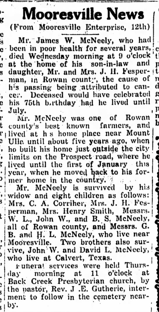16 Mar 1931Landmark James W Mcneely death Mooresville - Mooresville News (From Mooresvillo Enterprise,...