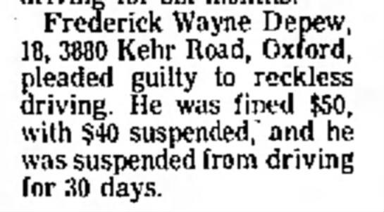 Fred involved in traffic incident - Frederick Wayne Depew, 18, 3880 Kehr Road,...