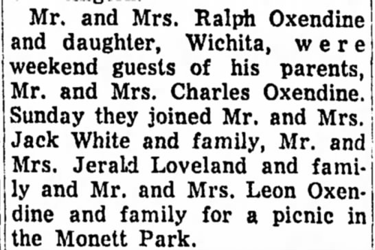 Oxendine family picnic in monett park - Mr* and Mrs. Ralph Oxendine and daughter,...