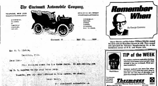 Oscar Ritchie and Father William Ritchie Owned The First Auto On Hamilton Streets In 1899 - Iljr (Hinrimutti Autinnabilr (tajumtf, Of...
