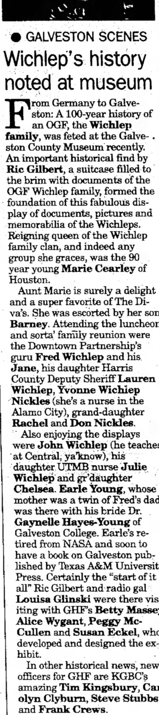 Wichlep family in 20 July 1997 - • GALVESTON SCENES Wichlep's history noted at...